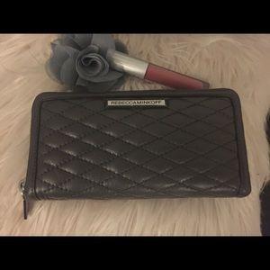 Rebecca Minkoff Quilted Gray Zip around wallet